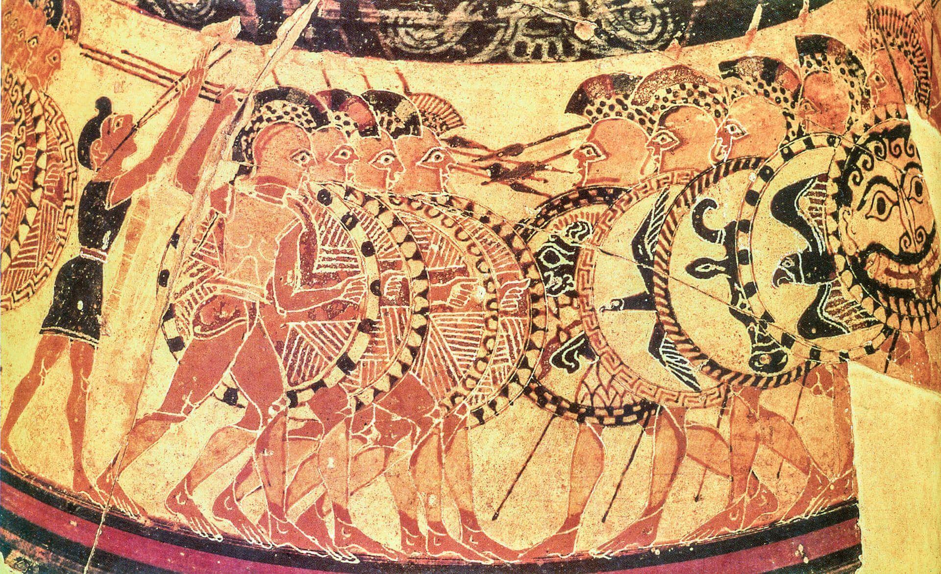 hoplitas griegos aspis vaso chigi