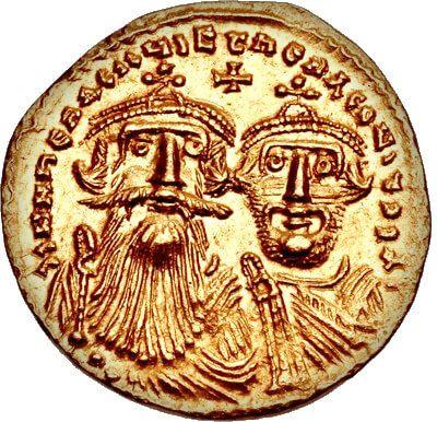 Heraclio como su hijo Heraclio Constantino