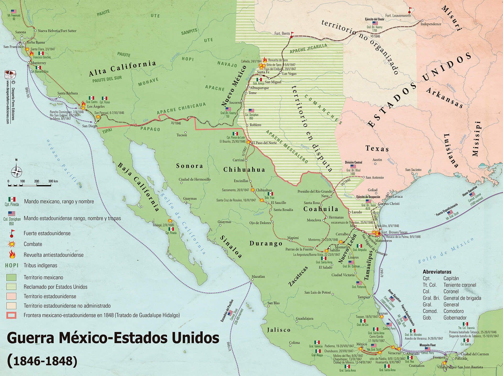 Mapa Guerra México Estados Unidos 1846 1848