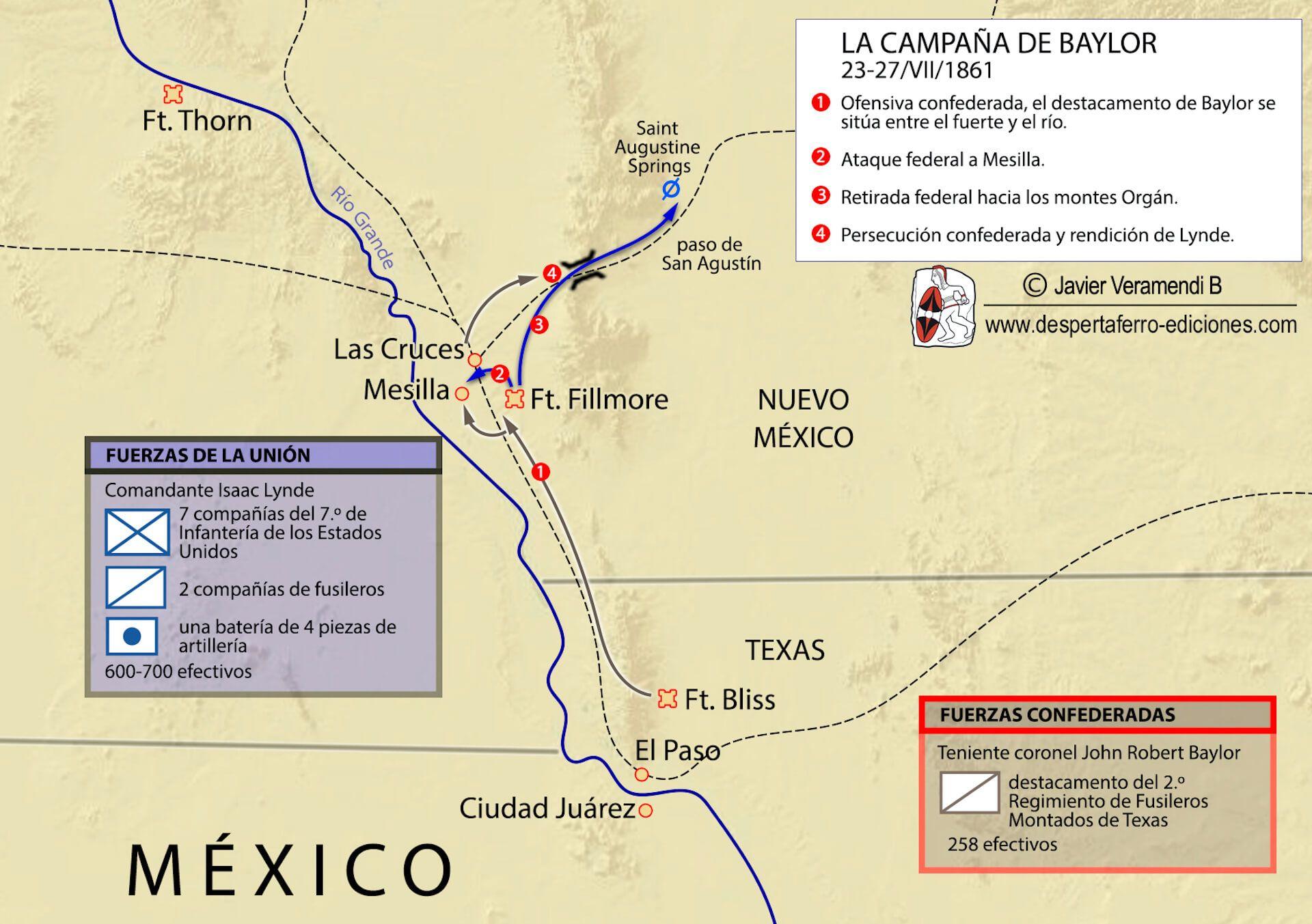 Imperio confederado en el río grande Texas campaña de Baylor Guerra de Secesión