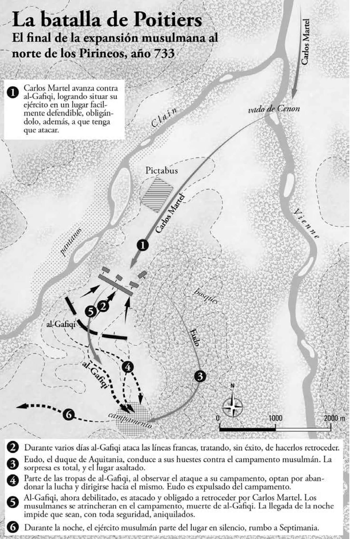 mapa batalla de Poitiers 732 733