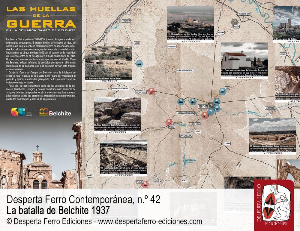 Las huellas de la guerra en la comarca Campo de Belchite. Mapa patrimonio de Belchite.