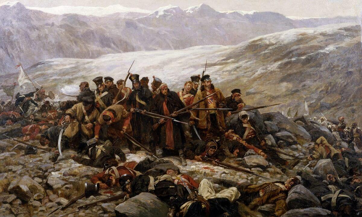 La última resistencia del 44 ° Regimiento en Gandamak