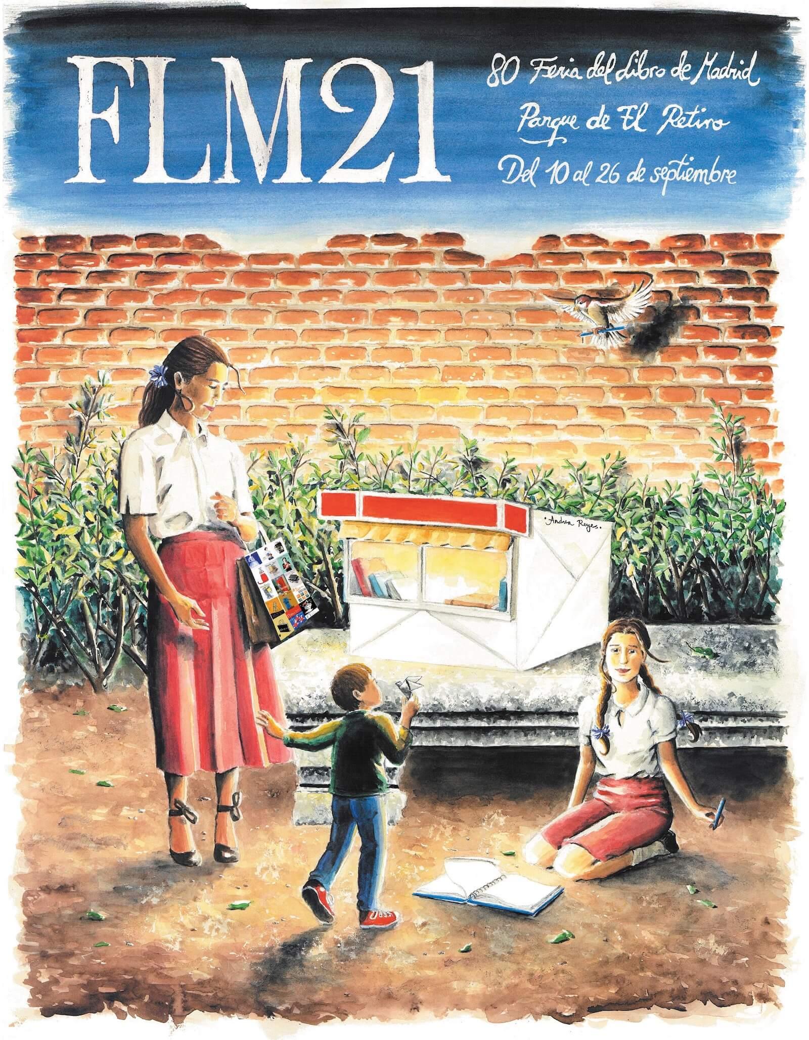 Cartel de la 80.ª Feria del Libro de Madrid, del 10 al 26 de septiembre de 2021 en el parque del Retiro.